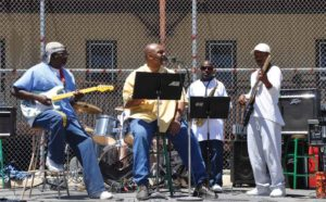 "Charlie Spencer, D. ""Champ"" Hill, Joe Demerson and Terry Slaughter jamming on the Lower Yard"
