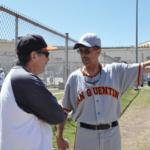 Giants sponsor Elliot Smith talking to coach Terry Burton