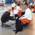 Shirley Mesa, with Mesahaus Dog Training visits Pups on Parole