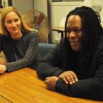Jessica Jackson-Sloan and Shaka Senghor in the SQ newsroom
