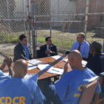 David Angel, Jeff Rosen, and Sean Webby talks with the San Quentin News staff