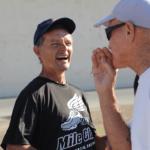 1000 mile Coach Kevin Rumon joking with runner Michael Keeyes