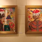 "Lamavis Comundoiwilla painting ""Kufu"" and ""Candice"" done in a style he calls Fusion"