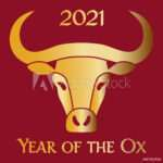 red gold 2021 year of the ox chinese new year graphic