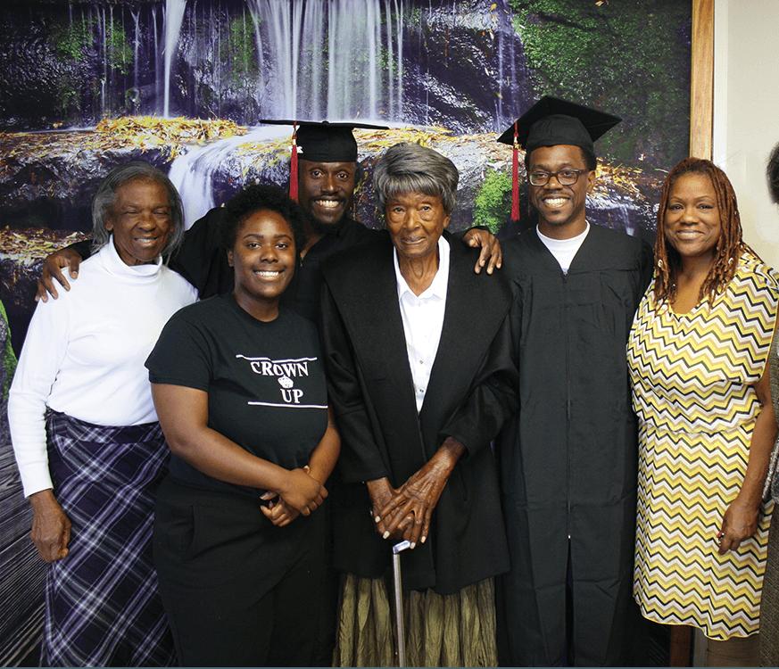 Aunt Oleta Hamilton, niece Brittany DeWeaver, graduate Eddie DeWeaver, grandma Lonnie Westburry, graduate Emile DeWeaver and aunt Candice Hunter