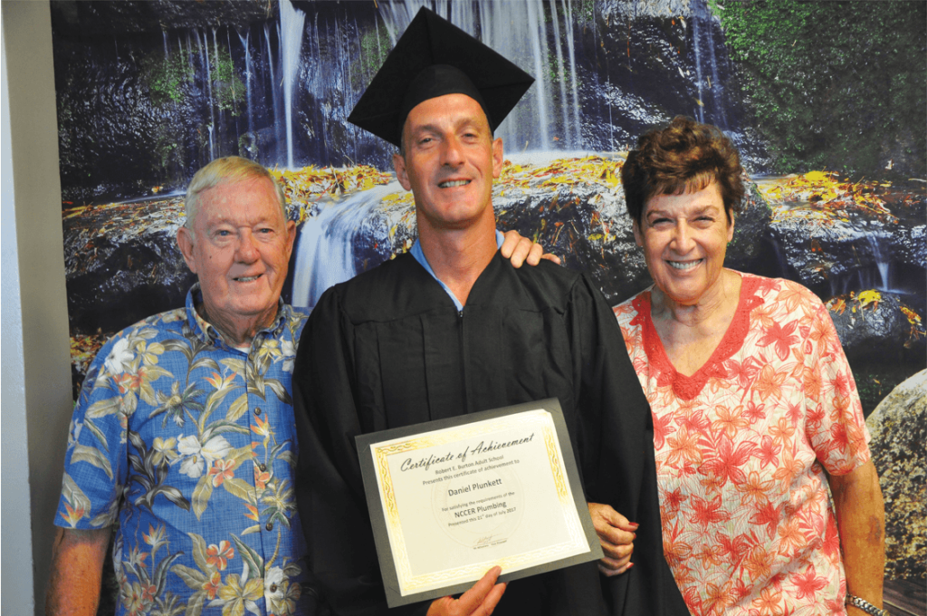 Father Kelly with graduate Danny Plunkett and mother Judy