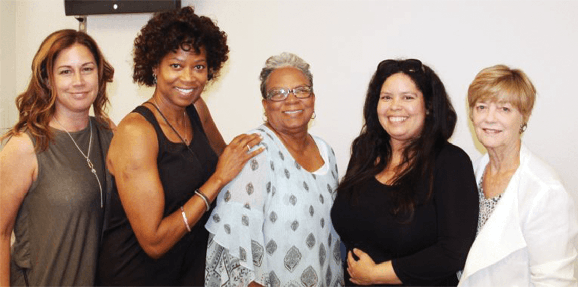 From left, CRM Ronnie Shupe; Karen Vertti, Supervising Psychiatric Social Worker and Healing Trauma Facilitator; retired Capt. Rochelle Leonard, Beyond Violence/Healing Trauma facilitator; S. Calhoun, Criminologist Researcher; and Dr. Stephanie Covington