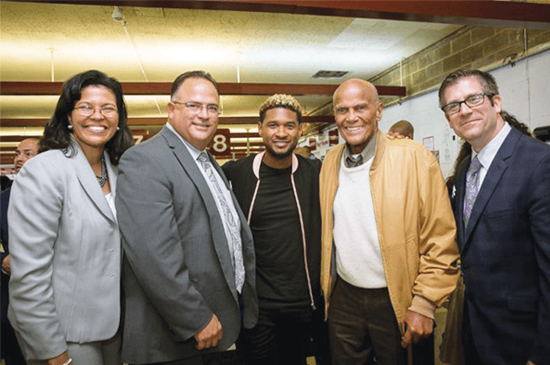 Keynote speaker Dr. Kim Hunter Reed, Sing Sing Superintendent Michael Capra, Usher Raymond, activist Harry Belafonte and Hudson Link Executive Director Sean Pica