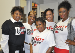 """Mamie Jackson, Sonja Brown, Clemmie """"G"""" Greenlee, Marleny Richiez and Tiffany Love in the SQ Media Center"""