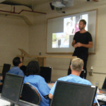Sebastian Terry talking to the students of Code.7370