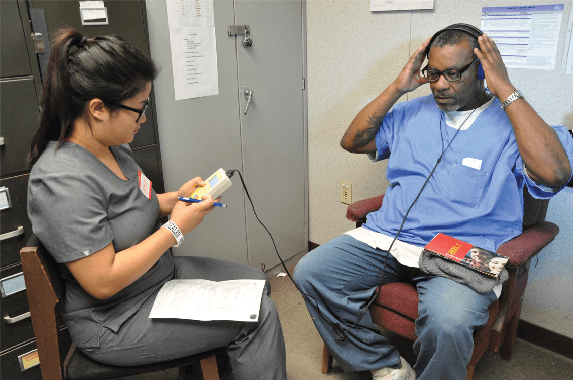 Participant taking part in the hearing test