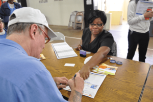 Nurse providing information about medical Advance Directives