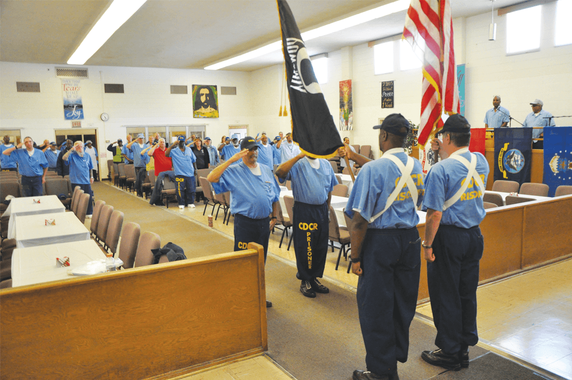 The honor guard performing the ceremony