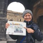 Yukari Kane in Armenia with the San Quentin News