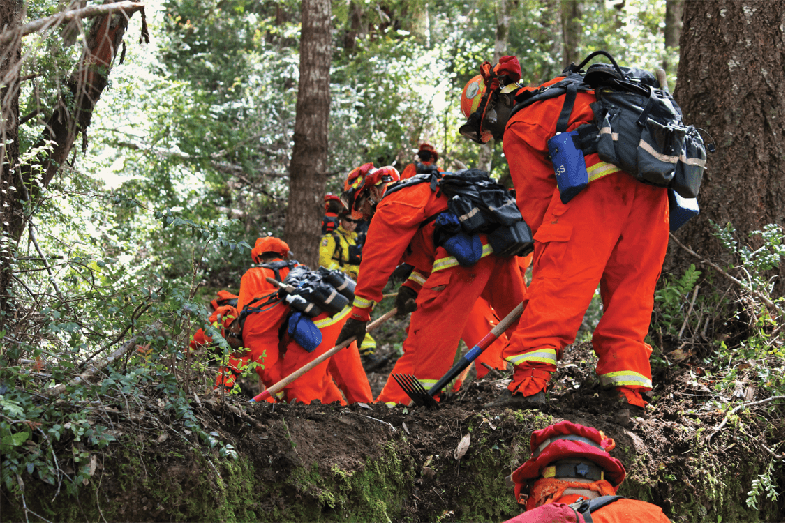 Inmate firefighters digging trenches