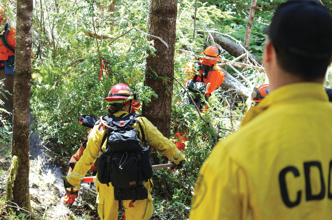 Inmate firefighters clearing debris