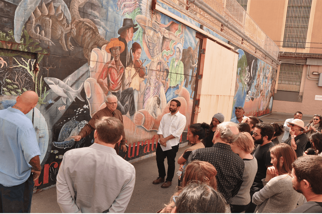 Bay Area artists touring the Upper Yard Mural