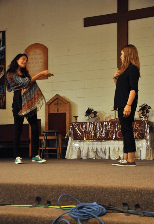 Marin volunteer actors on stage