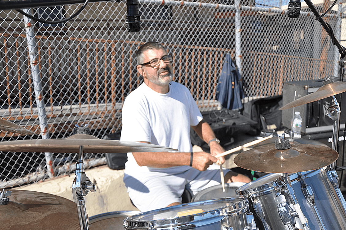Dwight Krizman on drums