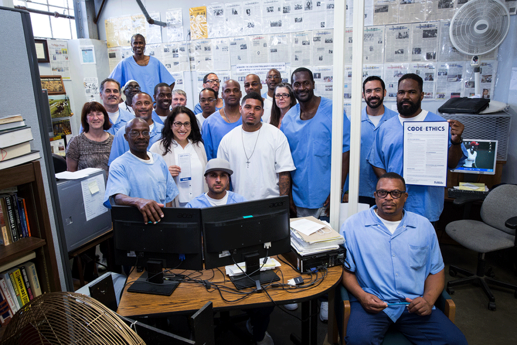 Society of Professional Journalists members in the San Quentin newsroom