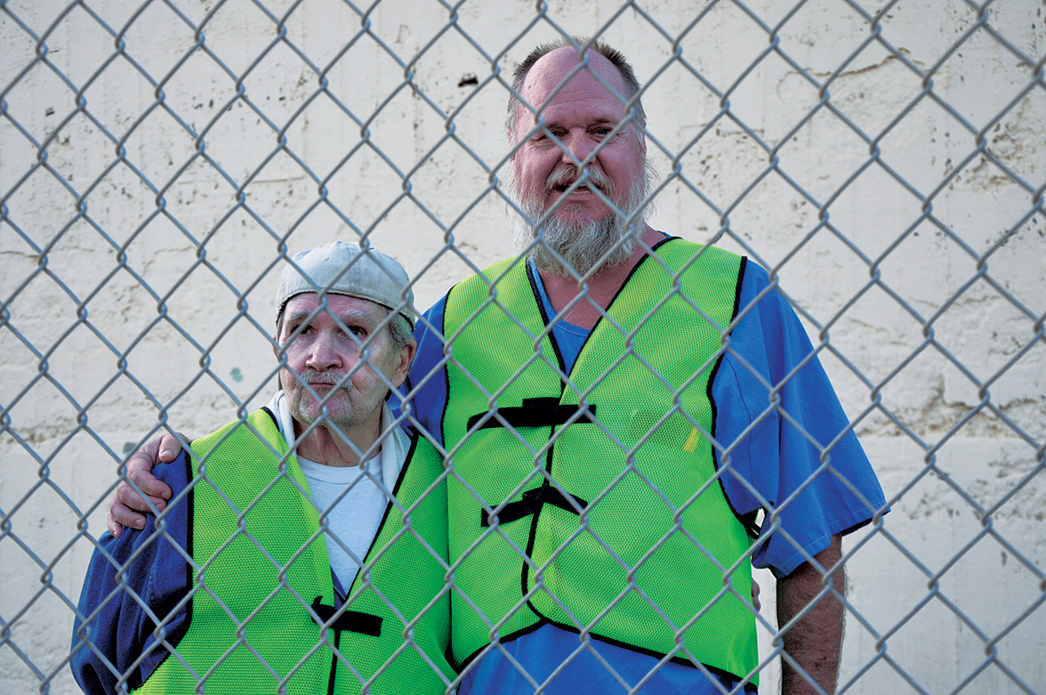 "Old friends, Edwin ""Fuzzy"" Marquis and Louis ""Wookie"" Calvin on the San Quentin Lower Yard"