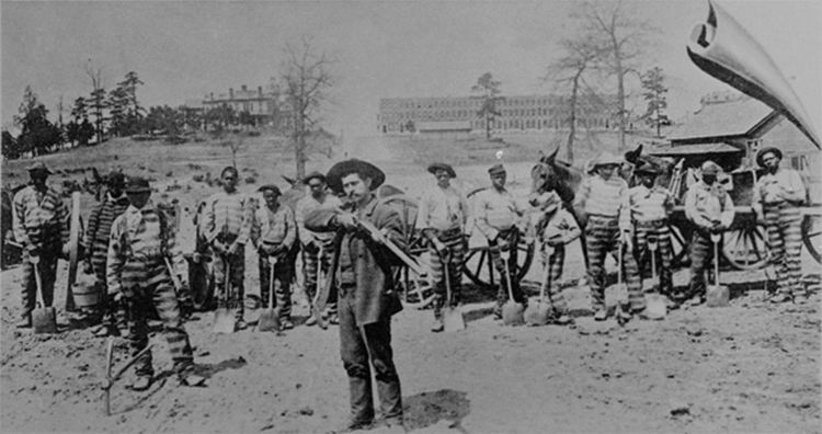 Prison chain gang of slaves