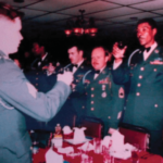 Davis Bennett, far right, toasting with army brothers and sisters