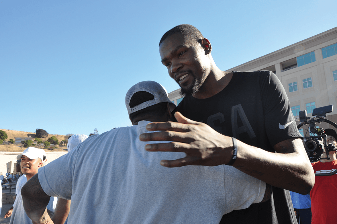 NBA All-star Kevin Durant on the Lower Yard of San Quentinwho