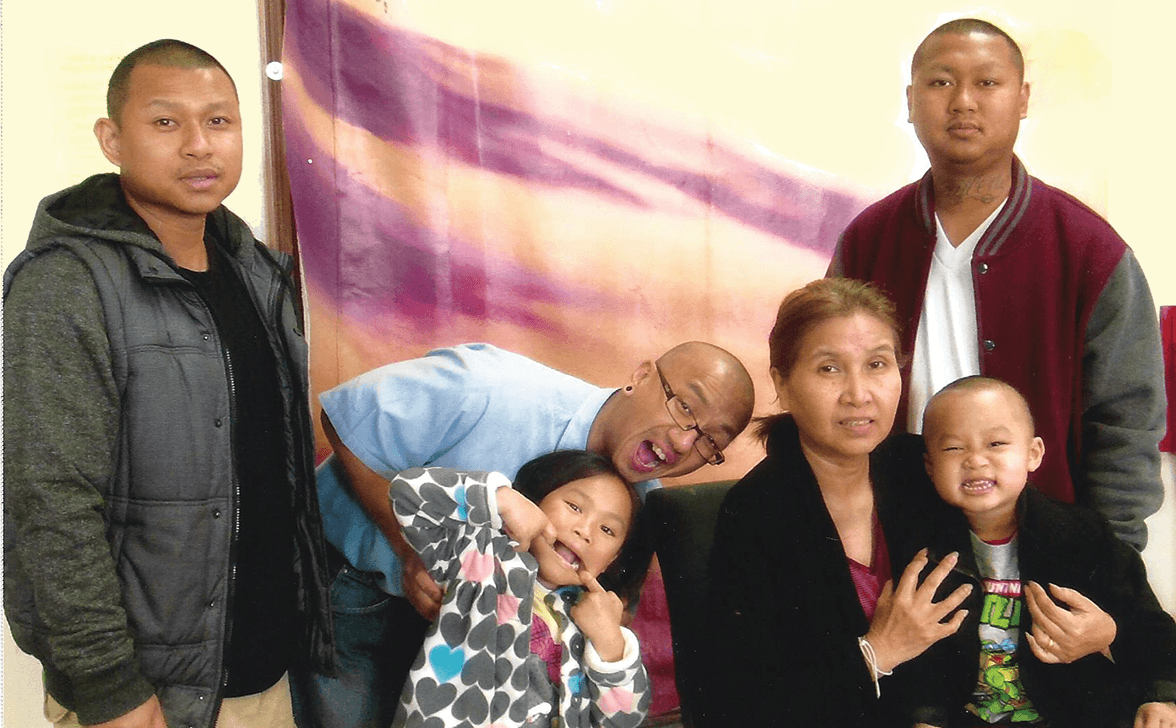 Younger brother Tony Douangmalalay, niece Caylen, Mother Pat, nephew C.J. and younger brother Caven