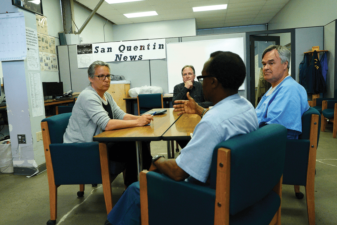 Judy Appel and Alden Feldon talking with SQN staff members Juan Haines and Wayne Boatwright