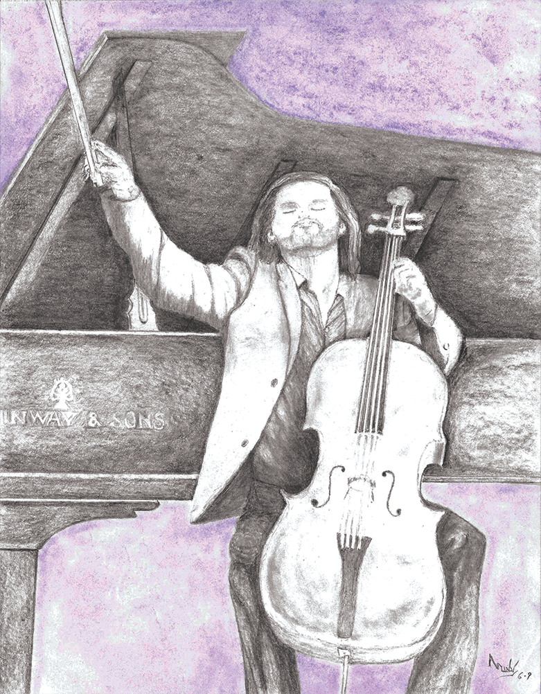 Artistic rendering of Cellist Zuill Bailey 'Unfretted'