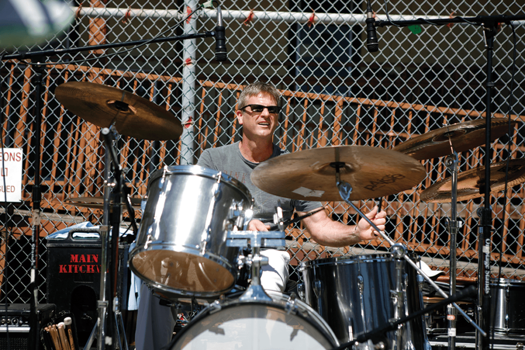 Steward Burr on the drums