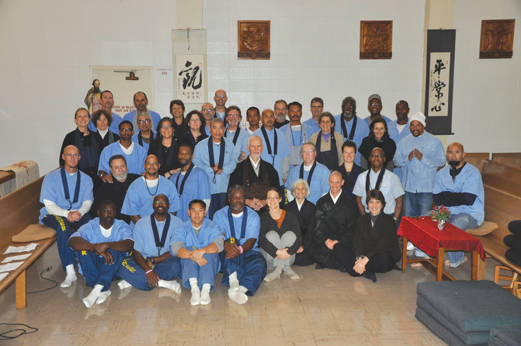 Seido Lee de Barros (center) with Zen students and volunteers at a San Quentin Jukai