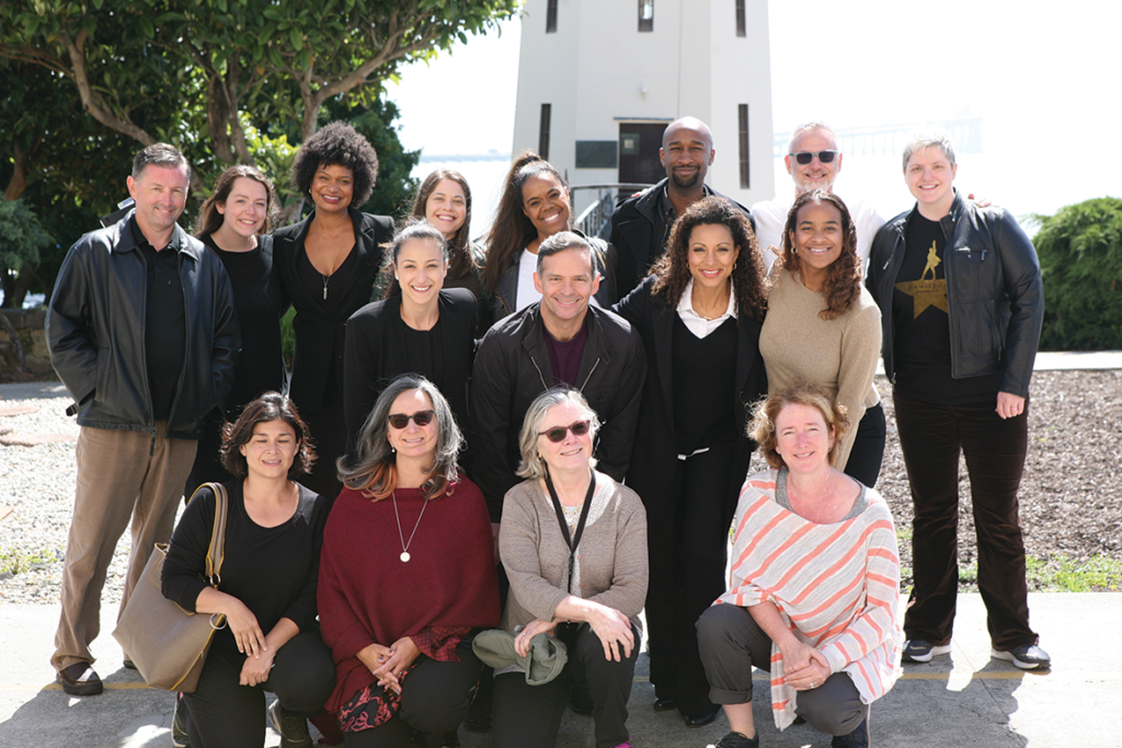 Members of Hamilton cast and crew with SQNews advsiors Monica Campbell and Jan Perry