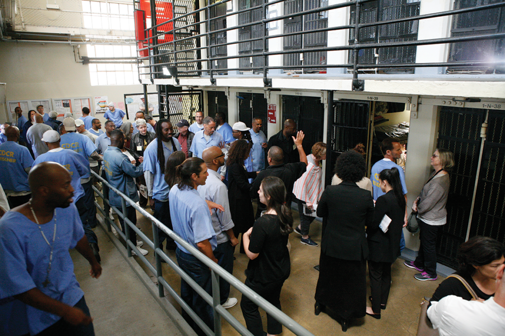 The Hamilton troupe gathered to view prison accommodations