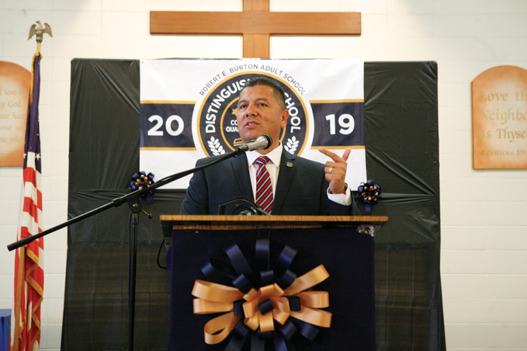 CDCR Secretary Ralph Diaz on stage sharing his experiences as a Correctional Officer